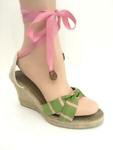 3c7f87c6286 Details about J Crew Espadrilles Rope Wedge Laced Ankle Sandals Jute Open  Toe Pink Green Sz 8