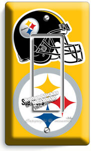 PITTSBURGH STEELERS FOOTBALL TEAM LOGO DOUBLE GFCI LIGHT SWITCH WALL PLATE COVER