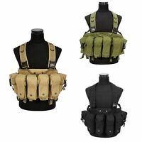 Tactical Military Airsoft Paintball Chest Rig Vest With Magazine Pouch Tan