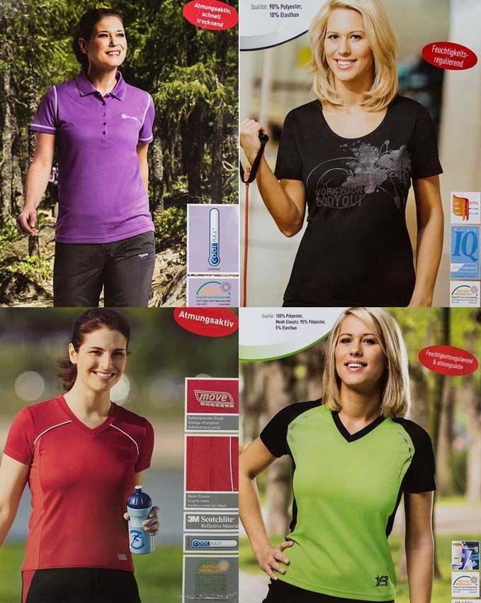 02 Damen Trekking- Walking- Laufshirts, Fitness,Sportshirt,Atmungsaktiv,ÖkoTex
