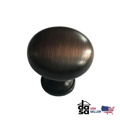 25 Pack Solid Oil Rubbed Bronze Cabinet Drawer Round Mushroom Knob Pull 1 1/4