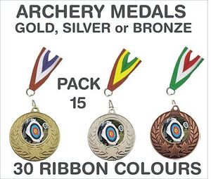 PACK-OF-15-0-86p-each-Archery-Medals-Budget-and-Ribbon-Metal-50mm-GMM7050-MR1
