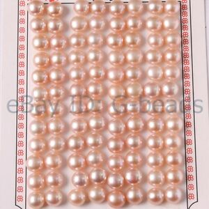 Beads 7-8mm Button Shape Genuine Pink Pearl Beads Half Drilling Genuine Pearl Beads For Earring Making Beads The Latest Fashion