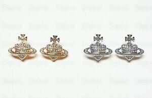 Crystal Saturn Heart Planet Orb Earrings Stud Jewellery Silver Gold Colour UK