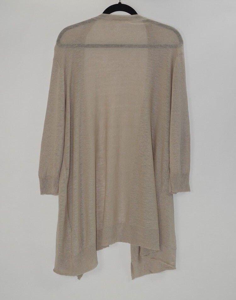 EILEEN FISHER Woman Beige Open Front Linen Cardigan Sweater Size 3X