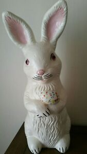 Vintage Large Hand Painted Ceramic Easter Bunny White Rabbit Sculpture