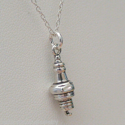 Tiny Spark Plug Necklace - 925 Sterling Silver - Charm Mechanic Car Auto NEW