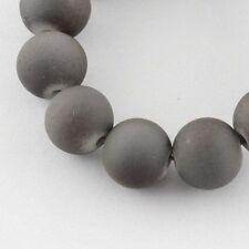 "Glass Bead Strands Rubberized Beads Round DarkGray 6mm 31.4"" X-DGLA-S072-6mm-40"