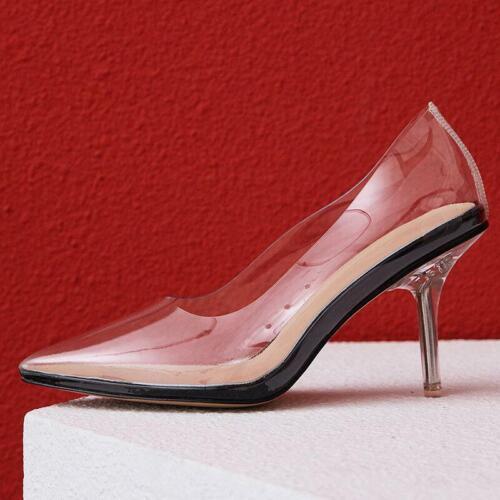 Fashion Femmes Escarpins Bout Pointu Clair Talons Escarpins transparent Prom Chaussures