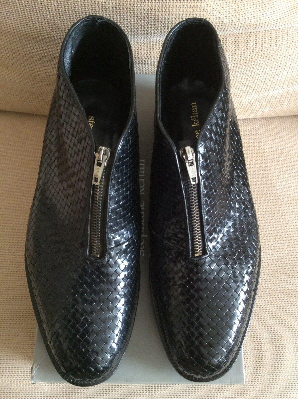 Da Uomo Designer Stephane Kelian Damo intrecciate Stivali neri in pelle con zip VINTAGE RARE