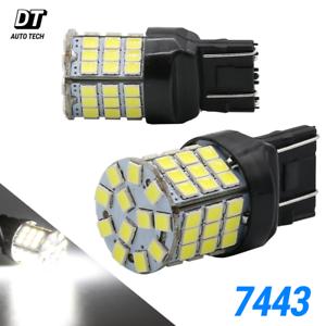 New-7443-7440-LED-White-6000K-Reverse-Turn-signal-DRL-Parking-Light-Bulbs-57-SMD