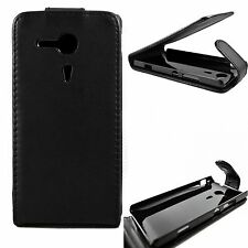 Black PU Leather Vertical Flip Case Cover Pouch For Sony Ericsson Xperia SP M35H