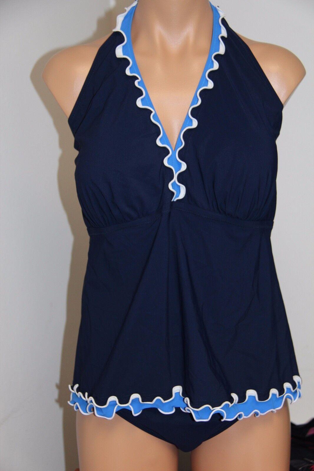 NWT Profile Swimsuit Tankini Bikini Bikini Bikini 2pc set Plus Sz 20W Halter High Waist Navy f767de