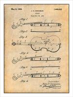 1921 Violin Patent Print Art Drawing Poster 18 X 24