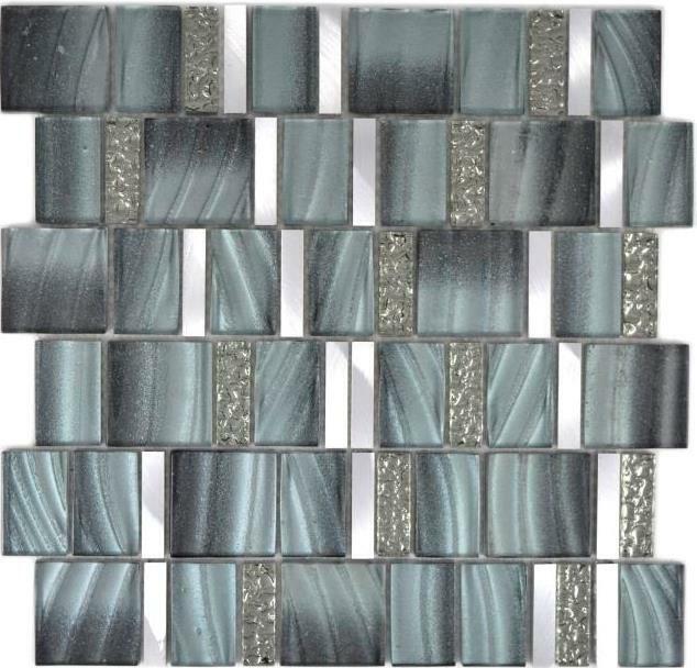 Aluminium Mosaik Glasmosaik grau silber Wand Küche Bad Sauna 88-0002  10Matten