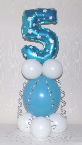 BLUE BOY AGE 7  FOIL BALLOON TABLE DECORATION DISPLAY 7TH BIRTHDAY