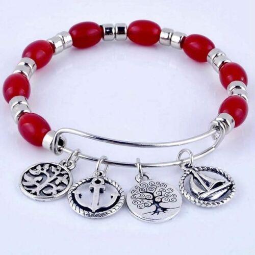 Expandable adjustable wire wrap acrylic beads bangle bracelet hand life tree cha