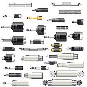 Audio-Adaptor-Jack-XLR-RCA-Phono-Plug-Socket-Stereo-Mono-2-5-3-5-6-35mm-Adapters