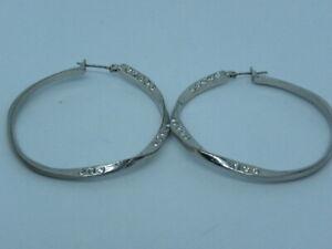 Vintage Lot of 4 Silver Tone Hoop Pierced Earrings