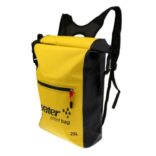 25L Yellow Waterproof Backpack Dry Bag Kayak Surf Camping Cycling Rucksack
