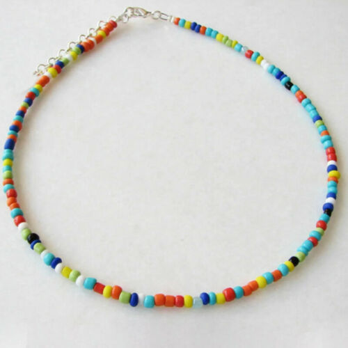Rainbow Seed Bead Long Necklace Bracelet Hippie Love Beach Festival Boho WN