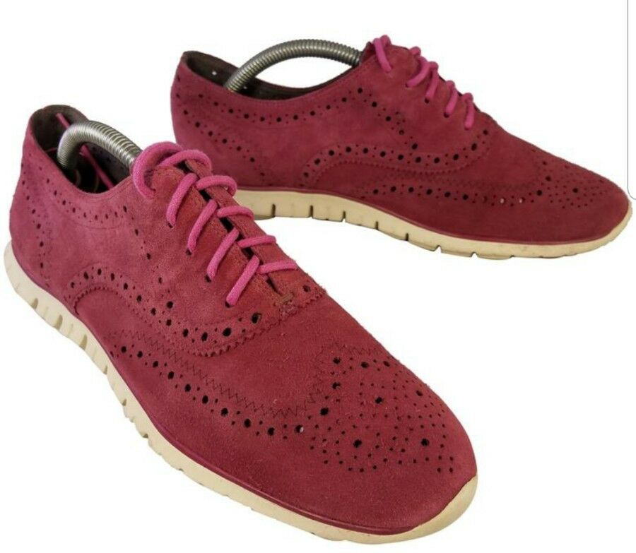 COLE HAAN ZEROGRAND WOMAN SHOES OXFORDS SUEDE BURGUNDY RED GRANDOS SIZE 9 B EUC