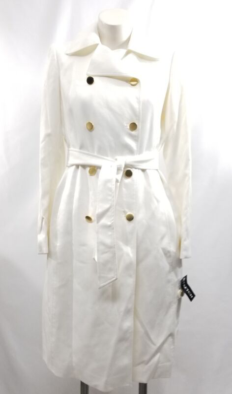 Anne Klein Stretchtrench Womens Medium Double Breasted Ivory Jacket Belt Size 6 To Win A High Admiration