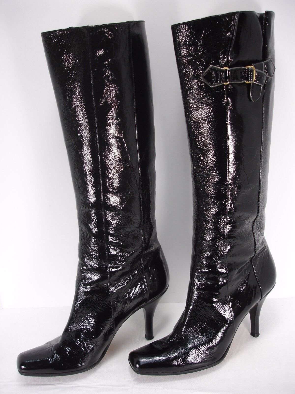 JIMMY CHOO BLACK PATENT LEATHER PULL ON SQUARE TOE KNEE HIGH BOOTS WOMEN'S 40