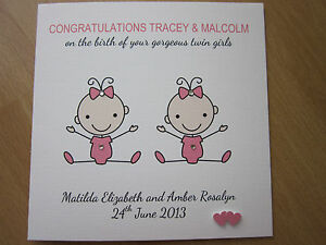personalised handmade congratulations new baby girl twins parents