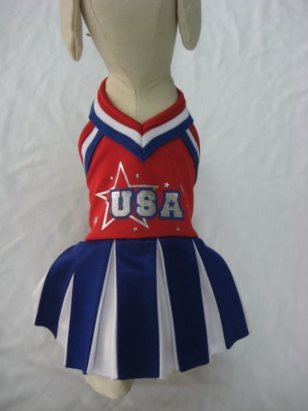 Patriotic Dog Costume Team USA Cheerleader Red White bluee Pleated Skirt Metallic