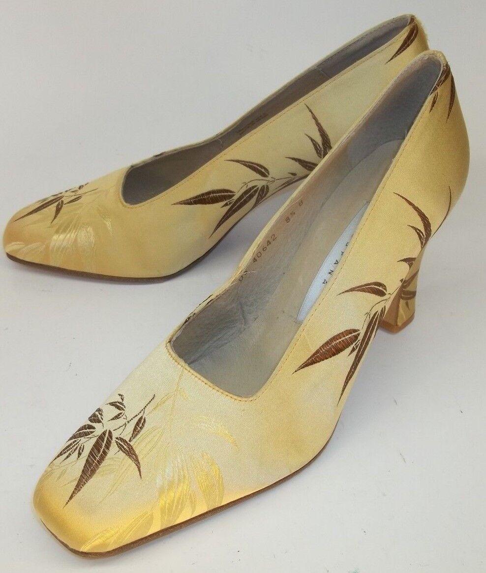 Valerie Stevens Tacones Ángel Ángel Ángel de Estados Unidos 8.5 B oro Tela Floral Cuero Tiki Pin-Up 1130  Sin impuestos