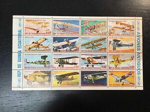 1972-EQUATORIAL-GUINEA-VINTAGE-AIRPLANES-SOUVENIR-SHEET-OF-16-STAMPS