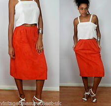 vtg CELINE PARIS rust orange 100% suede skirt S M