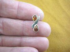 p14-54) Orange AMBER 2 stone pear teardrop .925 Sterling SILVER PENDANT necklace