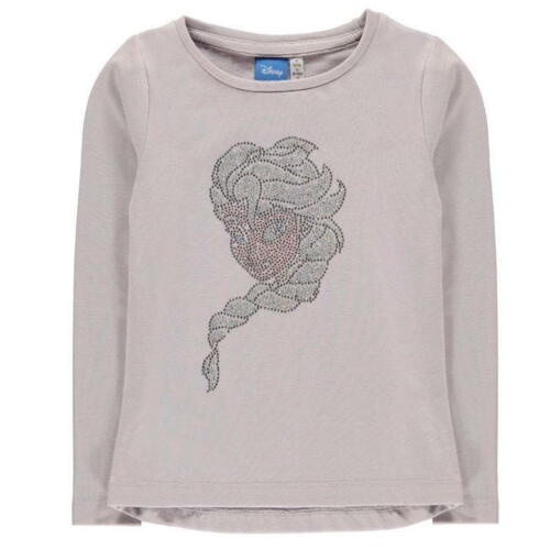 Ragazze Disney congelato Elsa Girocollo Paillettes manica lunga Tee Shirt T-Shirt Top