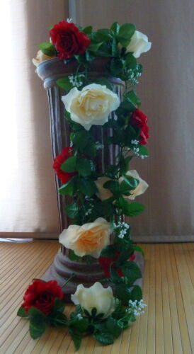 Rosengirlande bordeaux creme//champagner ca.250 cm   Seidenblumen