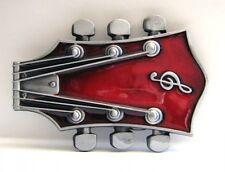 Buckle als Gitarrenkopf in rot, E-Gitarre, recht große Gürtelschnalle