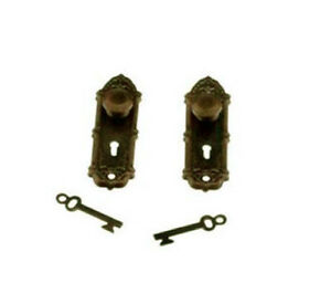 Package of 2 Dollhouse Miniature Decorative Bronze Door Knobs 1:12 ...