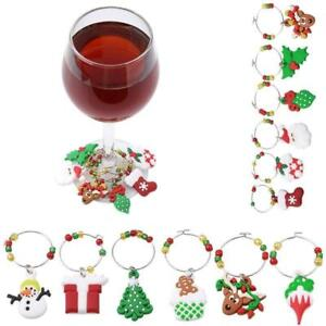 Wine-Stem-Glass-Charms-Tags-Ring-Markers-Set-of-6-Christmas-Holiday-Theme-Q