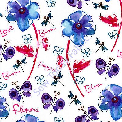 Field of Poppies Fuchsia - Free Spirit - PWKD062-FUCHSIA (sold by the 1/2 yard)