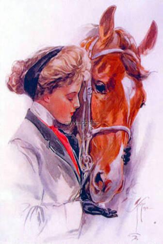 Harrison Fisher lady w//her Horse Sugar Cube Equestrian Quilting Fabric Block 5x7