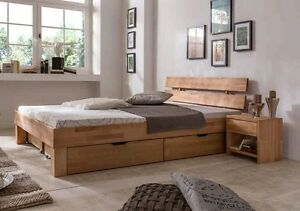 140x200 bett futonbett holzbett mit bettkasten kernbuche massiv jud140e bk ge lt ebay. Black Bedroom Furniture Sets. Home Design Ideas