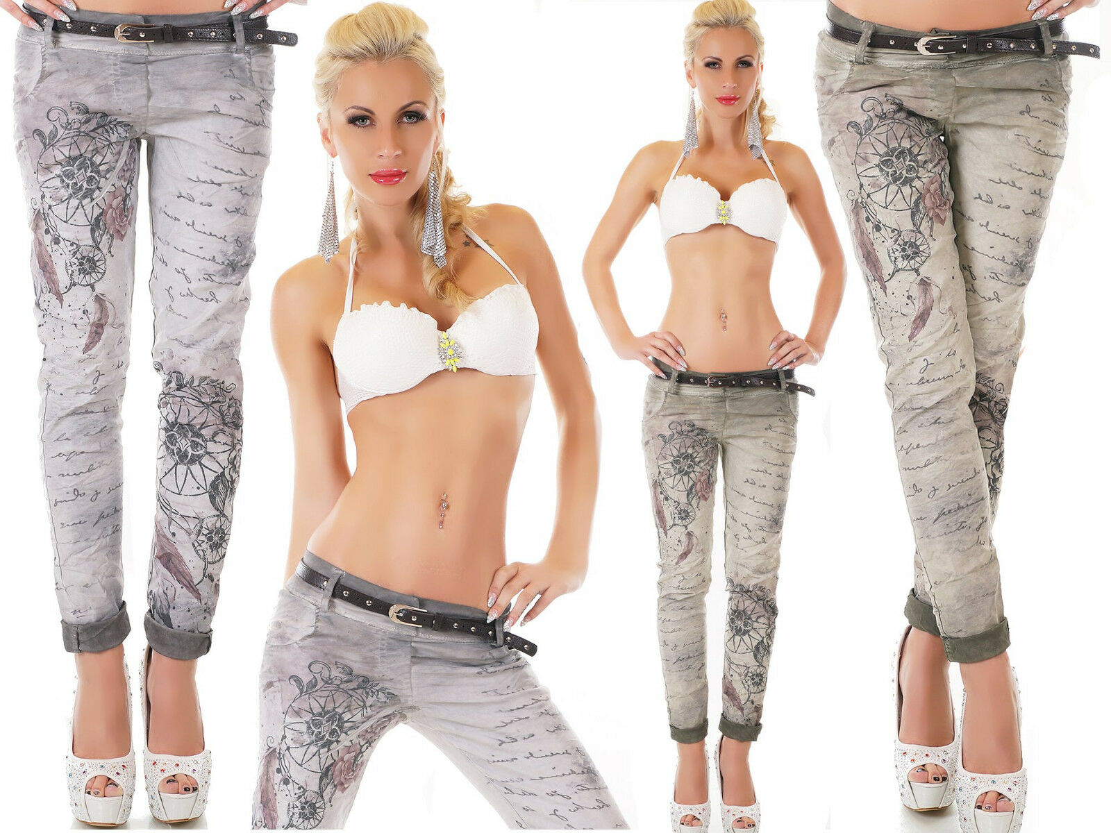 Sexy jeans women's trousers printed letters dreamcatcher faded strap