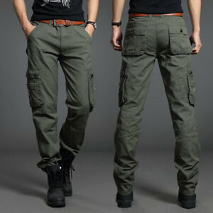 Men-Outdoor-Cotton-Cargo-Pants-ARMY-Combat-Work-Military-Pocket-Trousers-Casual