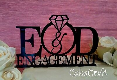 Mirrored Acrylic Engagement ring diamond personalised cake toppers decorations