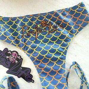 Bikini-Swimsuit-Silver-Gold-BOTTOMS-034-Spanish-Gold-034-themed-Mermaid-Print