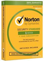 20 Norton Security Standard 3.0 2016 - 1 Device - Email Delivery - Delivery