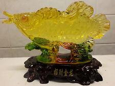 "Chinese Asian Feng Shui Lucky Arowana Carp Koi Fish Figurine 7""L X 5""H"