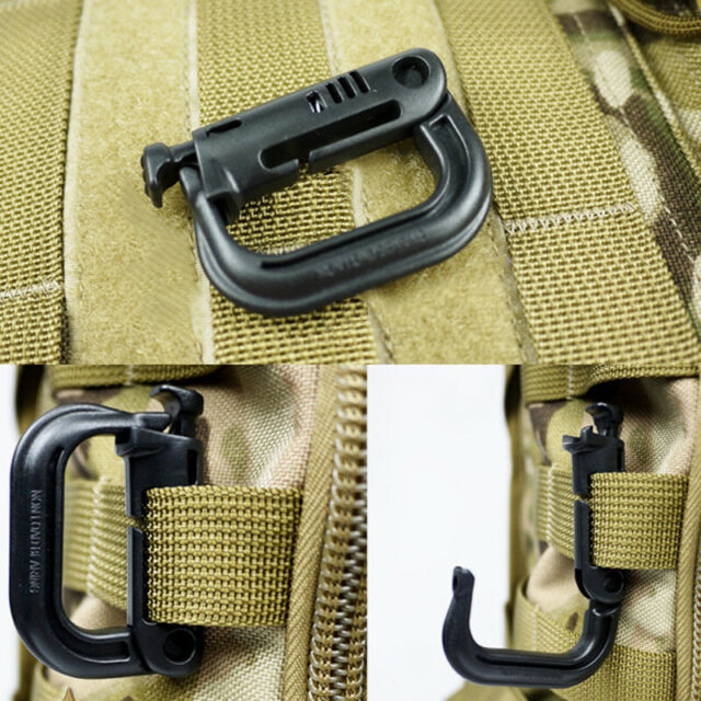 2//5 Pcs Tactical Grimloc Safe Buckle MOLLE Locking D-ring Carabiner EDC Webbing