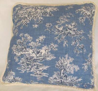 French Country Cottage Pillow  Black Ivory Farm House Toile Check